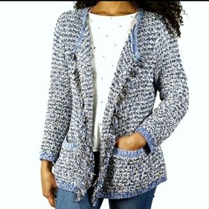 Tommy Hilfiger Knit Tweed Fringe Blue Cardigan